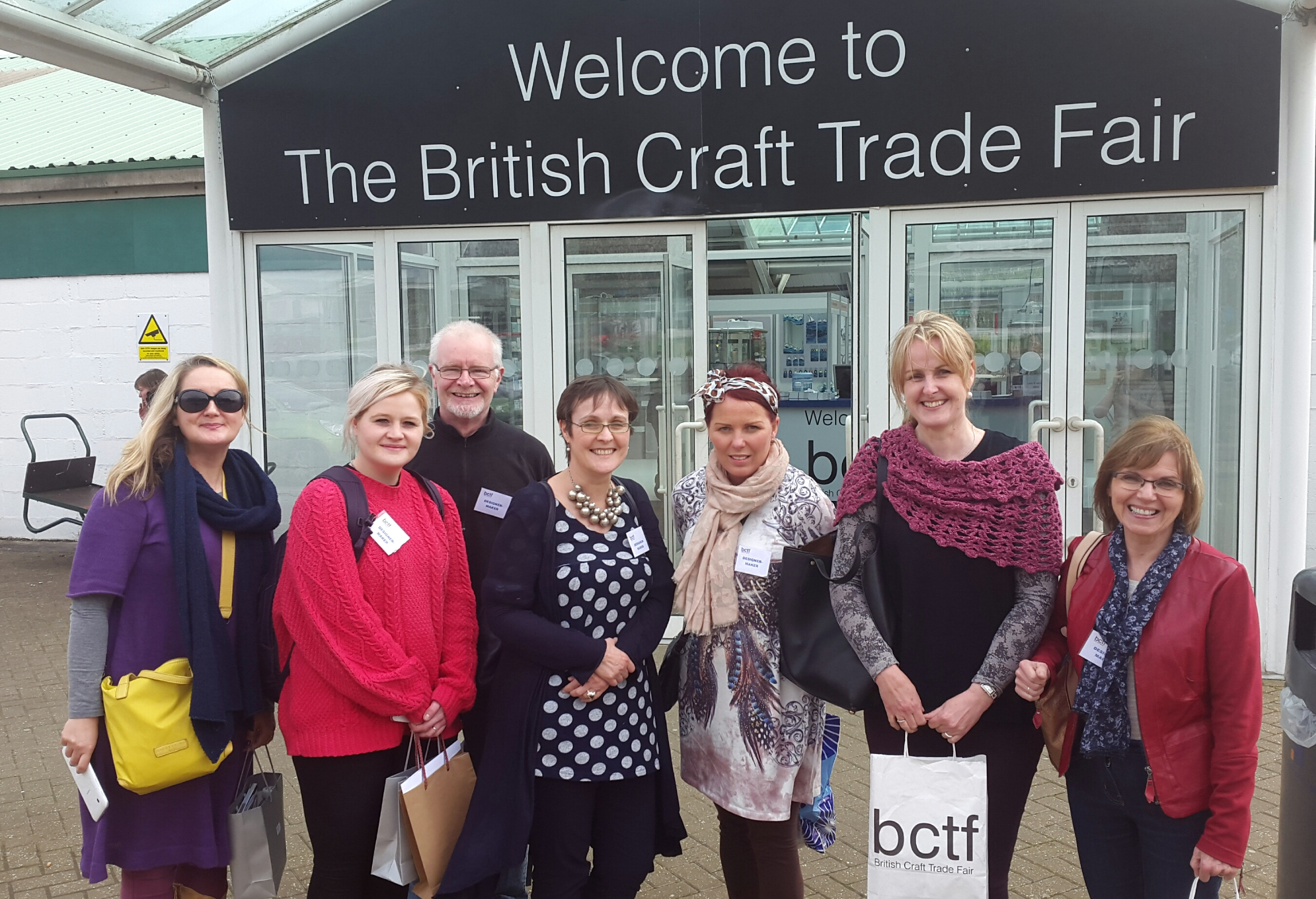 Pictured at the British Craft Trade Fair (April 2015) in Harrogate are (L to R); Edel McBride & Emma McCartney (Edel McBride Knitwear), Adrian Brothers  (Kildoag Pottery), Anne-Marie O'Hara, Aine Clark (Hansel & Gretel), Bernie Murphy, and Ursula McGivern (Kildoag Pottery).